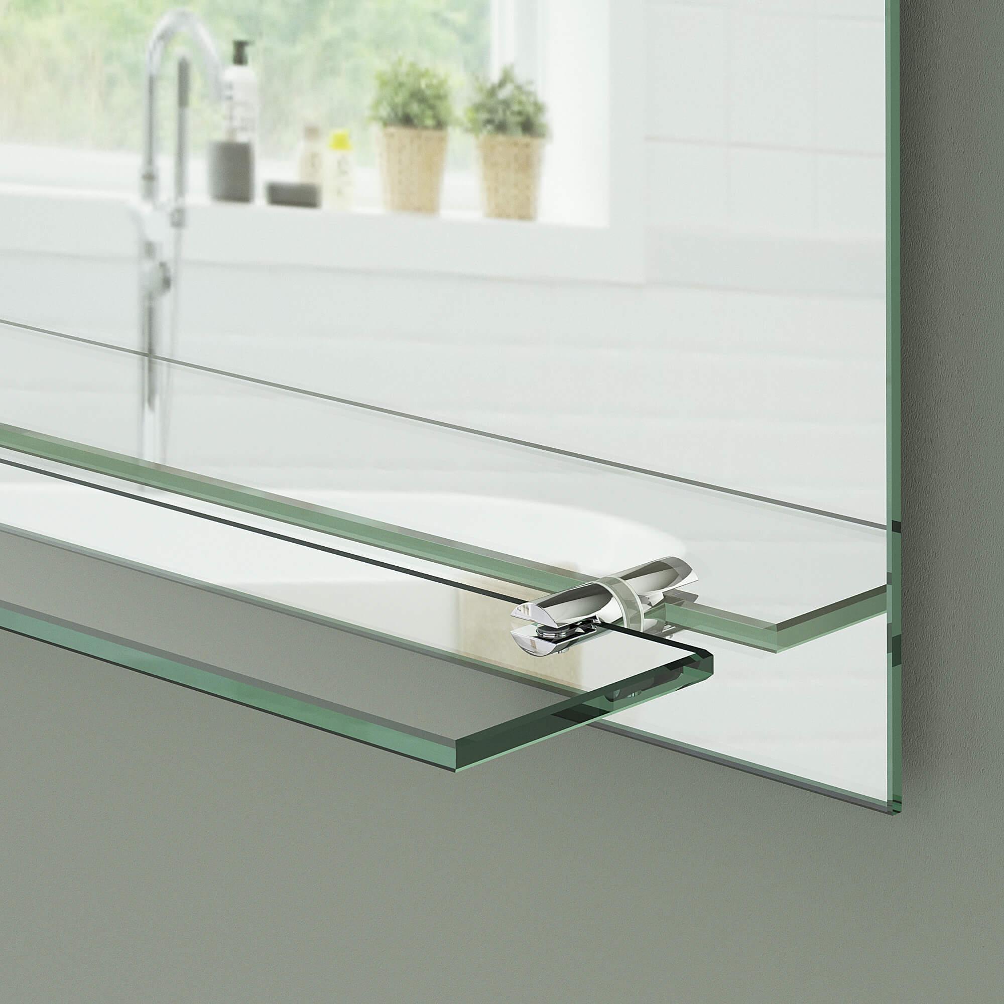 Super Badspiegel mit Ablage | Badezimmerspiegel mit Steckdose HW19