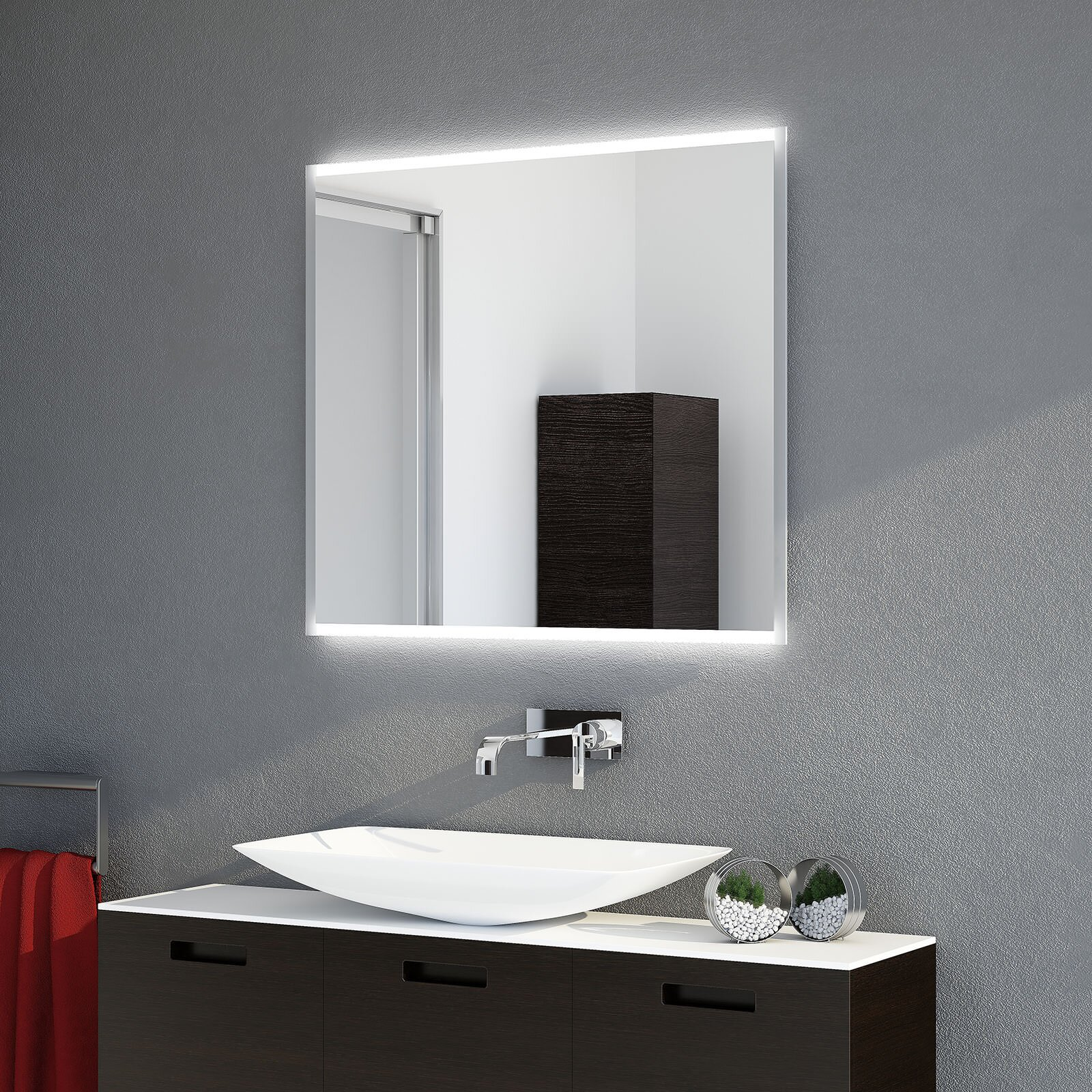 badspiegel frame td beleuchtet sofort lieferbar. Black Bedroom Furniture Sets. Home Design Ideas