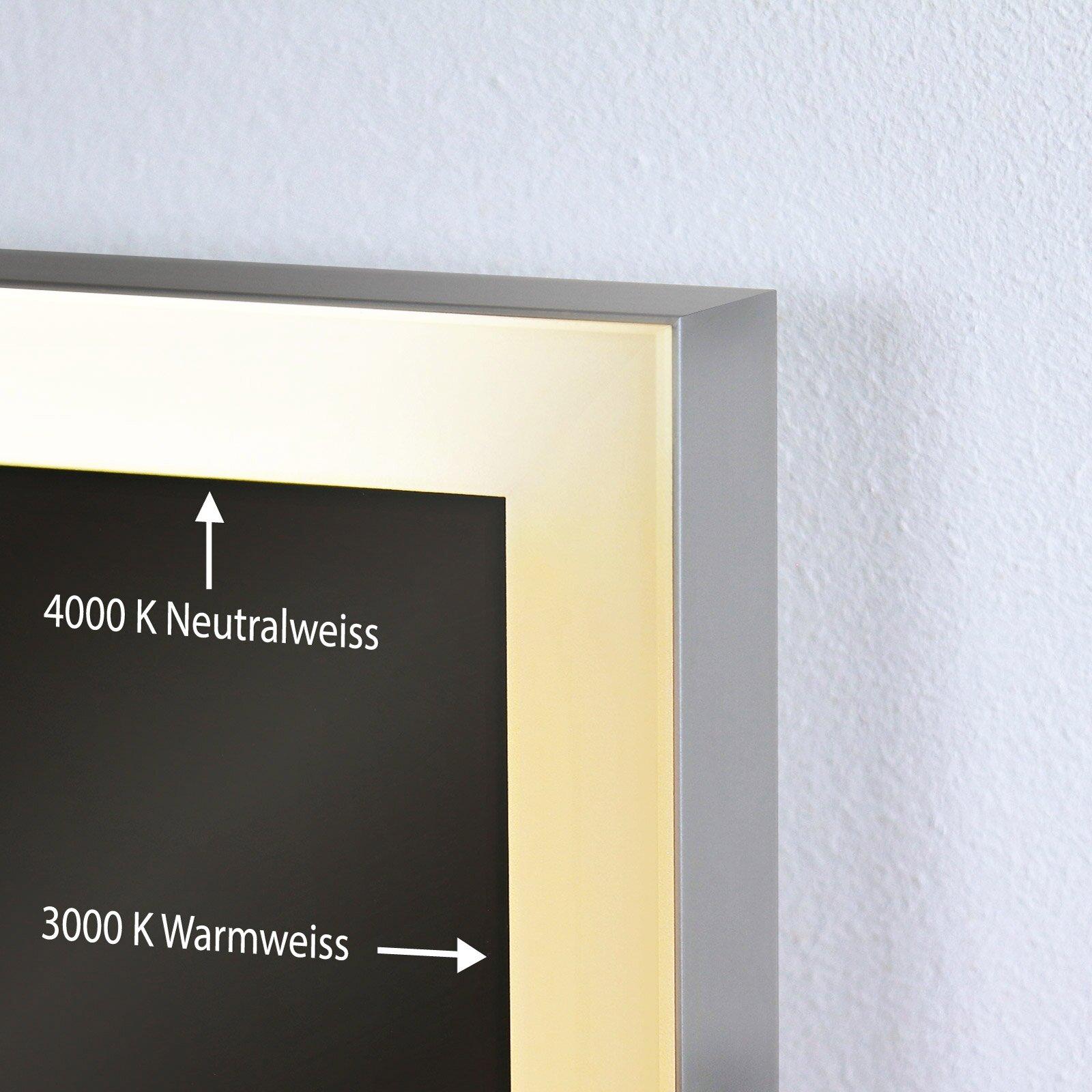Badspiegel florenz led 4s badspiegel mit rahmen alu beleuchtet - Badspiegel mit rahmen ...